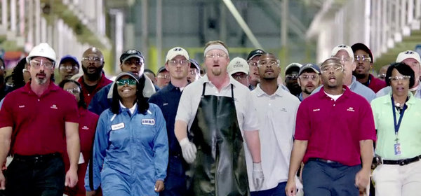 A Hyundai ad that ran during Super Bowl coverage showed workers from the company's plant in Montgomery, Ala.